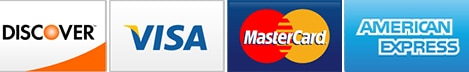 We Accept Visa, Mastercard, American Express, and Discover